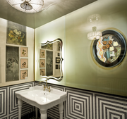 """At the Gitane restaurant in San Francisco, the bathrooms are designed in a bold Bohemian style. Not surprising, since Gitane means """"Gypsy woman"""" in French."""