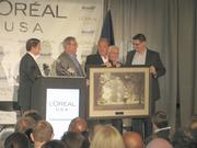 From left to right, Steve Pendery, Campbell Co. Judge-Executive; Steve Arlinghaus, Kenton Co. Judge-Executive; Gary Moore, Boone Co. Judge-Executive and chairman of Northern Kentucky Tri-ED; Ky. Gov. Steve Beshear; and Eric Wolff, L'Oreal USA vice president of manufacturing