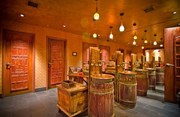 The restrooms at Washington, D.C.'s Mie N Yu restaurant resemble a Moroccan bazaar.