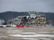 Another view of the half-demolished grandstand.