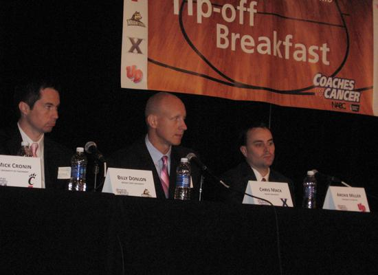 Among the coaches on the panel at Coaches vs. Cancer of Southwest Ohio Tip-Off Breakfast were from left, Wright State Coach Billy Donlon, Xavier University Coach Chris Mack and Dayton Coach Archie Miller.