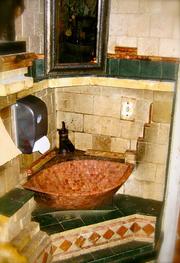 """The bathroom at the Da Marino Ristorante Italiano in New York is described as a """"miniature Italian sanctuary."""""""