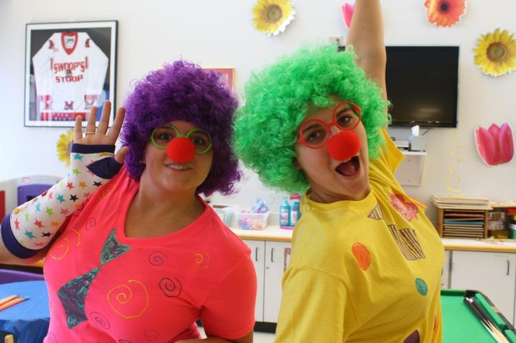 """Dunnhumby interns launched a """"Dunnhumby clown school"""" at Cincinnati Children's Hospital Medical Center for patients, parents and patient aids complete with certificates of completion. On the left is Kelsi Ward, University of Indiana (Marketing, Operations Management) and Katharine Rinker, University of Indiana (Psychology)."""