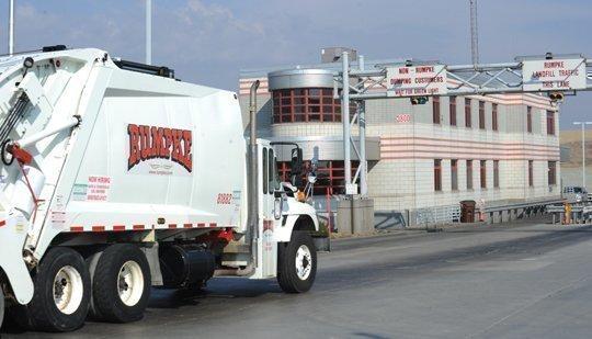 A Rumpke truck enters the Colerain landfill.