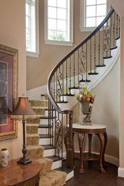 The staircase inside the home's turret.