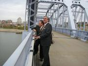 Abramson and Keene took a walk on the Purple People Bridge following the check presentation ceremony.