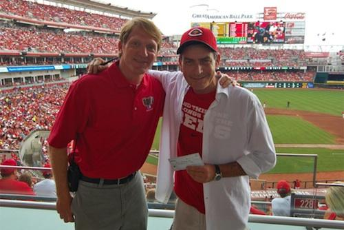 Actor Charlie Sheen, at right, and Reds Community Fund Director Charley Frank.