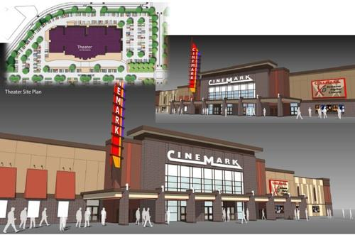 A rendering of the Cinemark theater under construction at Oakley Station.