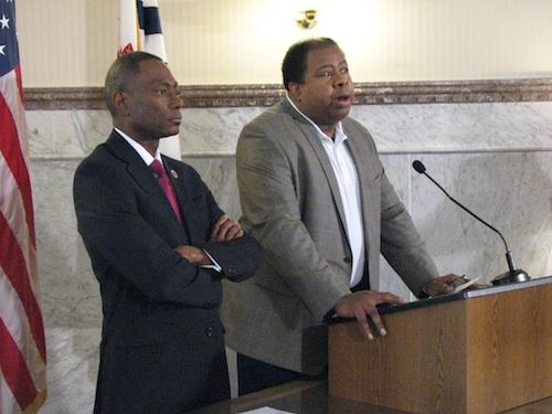 City Manager Milton Dohoney speaks at an event with outgoing Mayor Mark Mallory.