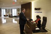 The reception desk at First Financial's headquarters in downtown Cincinnati.