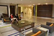 The lobby in First Financial's headquarters has low, sleek furniture.