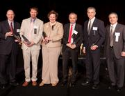 Innovator finalists, from left to right: Greg Ebel, executive director of the Health Collaborative; Dr. Jed Hartings, UC College of Medicine and Mayfield Clinic; Margaret Namie, Mercy Health; Dr. Oliver Rixe, UC College of Medicine; John Rudnick Jr., Tri-State Gastroenterology Associates. At far right is Dave Levine of TechSolve.