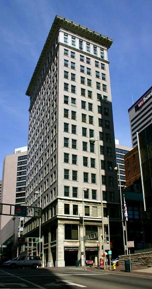 The Ingalls Building is located at Fourth and Vine Streets in downtown Cincinnati.
