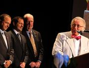 From left, Mike LaRosa, Mark LaRosa and T.D. Hughes joined Buddy LaRosa on stage at the Goering Center Family and Private Business of the Year Awards to accept the 2011 Greater Cincinnati Family Business Hall of Fame Award.