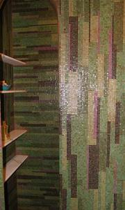 "A ceramic tile wall inside the ""Mushroom House."""