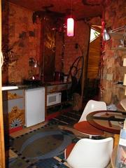 """The """"Mushroom House"""" is not just a piece of art, it can be lived in. Here is the kitchen."""