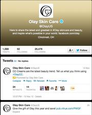 """No. 11: Olay Skin Care@OlayUS""""Here to share the latest and greatest in #Olay skincare and beauty,""""25,371 followers"""