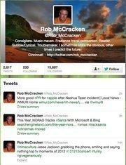 "No. 14: Rob McCracken@Rob_McCracken""Consigliere. Music maven. Freelance travel companion.""16,898 Cincinnati-area followers"