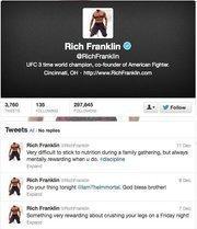 "No. 1: Rich Franklin@RichFranklin""UFC 3 time world champion, co-founder of American Fighter.""312,287 Cincinnati-area followers"