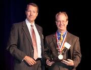 Ben Willingham, senior vice president, U.S. Bank, commercial banking presented the Fast55 award for fastest growing company $50.1 – $100 million to Oswald Co. represented Todd Haidet, vice president of finance, Oswald Co.