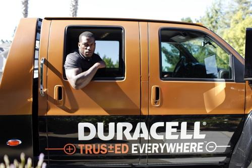San Francisco 49ers linebacker Patrick Willis in the Duracell Power Relief truck. Duracell announced Tuesday its sponsorship with the NFL.