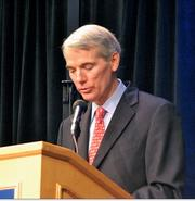 "Sen. Rob Portman, R-Ohio, introduced Steve Forbes Friday at ""The Power of a Game Plan"" event in downtown Cincinnati."