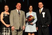 From left, Carolyn Pione Micheli, communications director for CincyTech; Courier Publisher Jamie Smith; award winner Bree Rosen of Psion; and Mark Seidel of Time Warner Business Class.