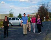 Remke bigg's employees taking a walk, staying active.