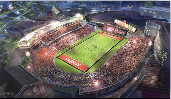 A rendering of the renovated and expanded Nippert Stadium at the University of Cincinnati.