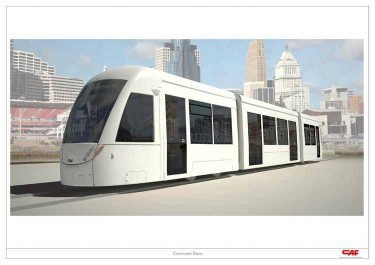The Cincinnati streetcar would travel a 3.6-mile downtown route.