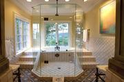 Even the master bathroom shows off the home's impressive views. You can take a shower and see boats on the Ohio River.
