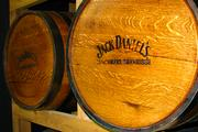Jack Daniels whiskey barrels are part of the decor.