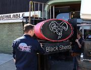 """Before   The Black Sheep sign is removed as part of the changes during filming of Spike TV's """"Bar Rescue."""""""