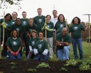 Cintas Corp. employees participate in a community landscaping project.