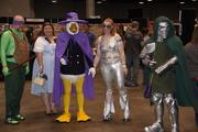 Here's an eclectic group of characters at the Cincinnati Comic Expo.