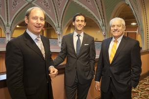 Former Hamilton County Commissioner Tom Neyer Jr., at left, has invested in commercial real estate firm Cresa Cincinnati. He joins Sean Mangialardo, center, and Alan Piker.