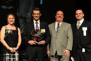 From left, Carolyn Pione Micheli, communications director for CincyTech; award winner Austin Allison of DotLoop; Courier Publisher Jamie Smith; and Mark Seidel of Time Warner Business Class.