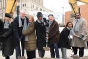 Breaking ground, L to R: Cincinnati USA Partnership's Denyse Ferguson, Kroger executives Chris Hjelm Sr., chief information officer and Lynn Marmer, vice president for corporate affairs; Mayor Mark Mallory; DunnhumbyUSA CEO Stuart Aitken; and Councilmembers Yvette Simpson and Wendell Young.