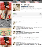 """No. 9 Heather Knitz @HeatherKnitz 8,585 followers """"Babette and her expeditions"""" blog"""