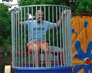 CEO Terry Horan gets ready for a dunking by Horan employees.