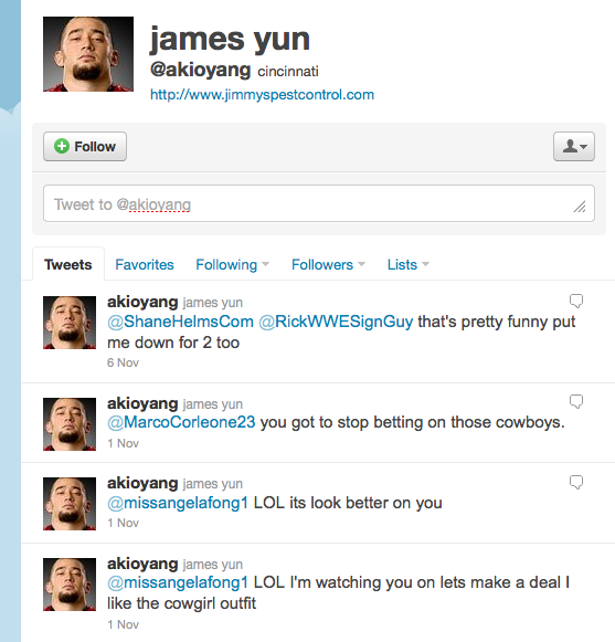 No. 10 James Yun  @akioyang Professional wrestler 10,596 followers
