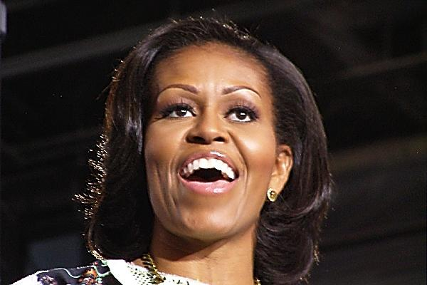 First Lady Michelle Obama speaks to a crowd of about 6,800 at the Duke Energy Convention Center in downtown Cincinnati.