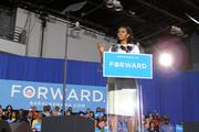 Michelle Obama spoke for about half an hour at the Duke Energy Convention Center.