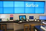 The interior of the Microsoft store features a number of products customers can test.