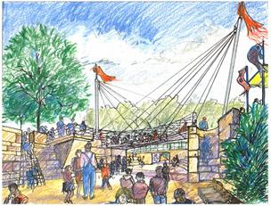 The PNC Grow Up Great Adventure Playground will have a a swinging rope bridge for kids to walk across a canyon.