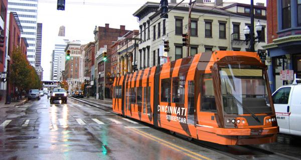 A rendering of the Cincinnati streetcar. The project made Sierra Club's list of best transportation projects.