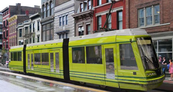 A rendering of what the Cincinnati streetcar could look like. More than 60 contractors downloaded bid specifications on the Cincinnati streetcar project.