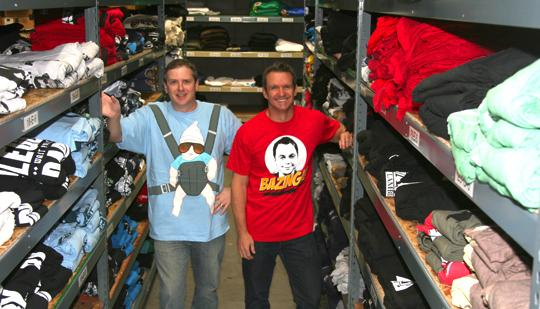 Ripple Junction President Neil Hoynes, left, and VP Scott Andersen sell licensed apparel from movies and TV shows at Walmart and other retailers.