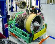 The preparation of a CF34-8E engine for testing at GE's Peebles test operation.