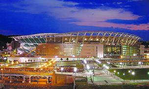 A proposed ticket tax by a Hamilton County commissioner would drive up prices at Paul Brown Stadium, pictured, and Great American Ballpark in Cincinnati.